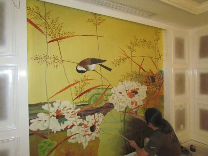 龙城春天电视背景墙客户墙绘案例展示