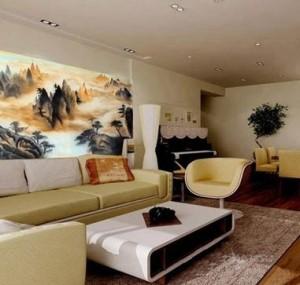 天津居民家中客厅山水画墙绘