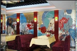 福州茶餐厅荷花墙绘展示