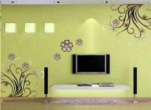 龙岩花瓣藤蔓电视背景墙绘