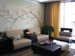 南京家居顶级沙发背景墙墙绘设计