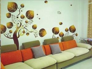 杭州西湖区家居沙发背景手绘墙