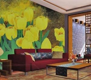 南京古典气息的沙发背景墙绘