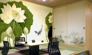 商务茶座雅间墙绘 中国古典风爱莲说