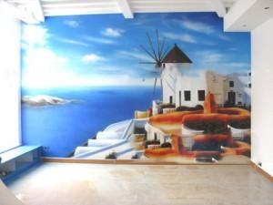 苏州地中海风格手绘墙展示