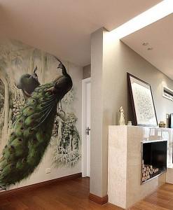 长乐家居过道孔雀墙绘案例展示