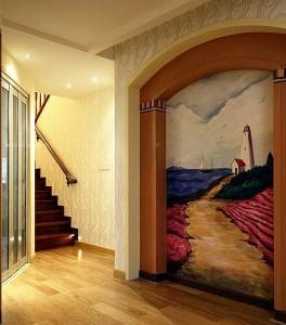 客厅阳光向上的海港图案墙绘