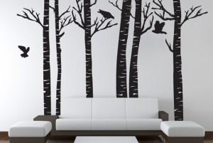 白桦林图案的墙体彩绘案例