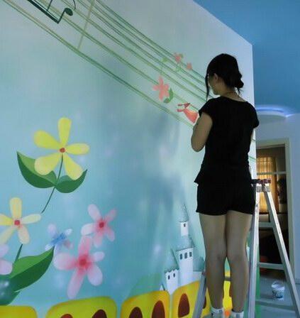 长沙专业手绘墙壁画三D立体画学校酒店会所墙绘地画