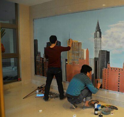 青岛手绘墙绘 墙画 3d立体画 3d地画广告 壁画
