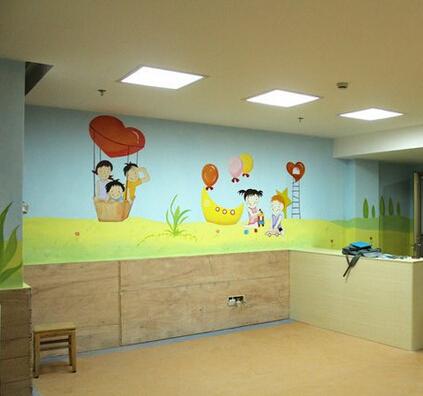 邵武手绘墙 体育场墙绘 邵武儿童图书馆手绘壁画 彩绘墙