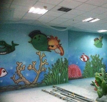 泉州儿童游乐场手绘墙 卡通墙绘
