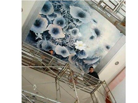 青岛天花板 吊顶墙绘 墙画 手绘墙