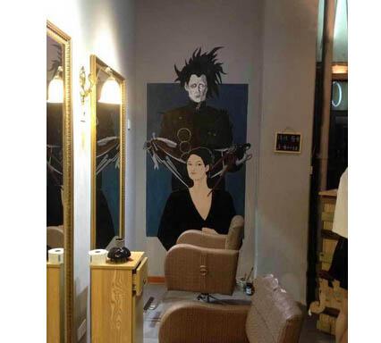 无锡美发中心手绘墙画 无锡理发馆墙绘
