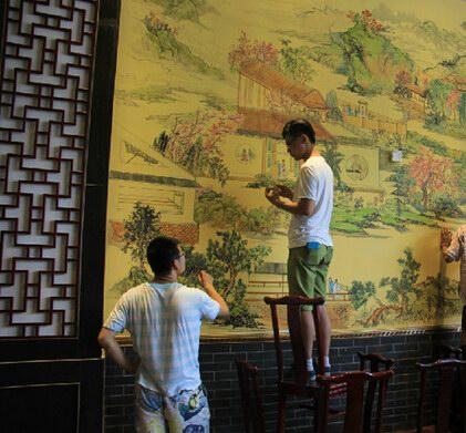 保定中国山水风格墙绘