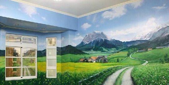 龙岩卧室墙绘 大面积手绘墙