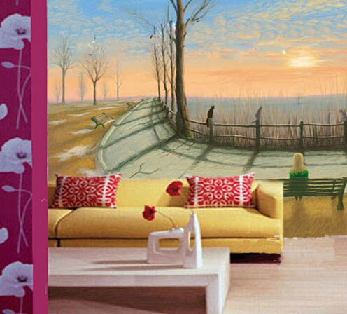 上海沙发背景墙墙体彩绘