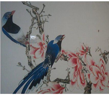 武汉花鸟墙绘 室内花鸟画手绘墙