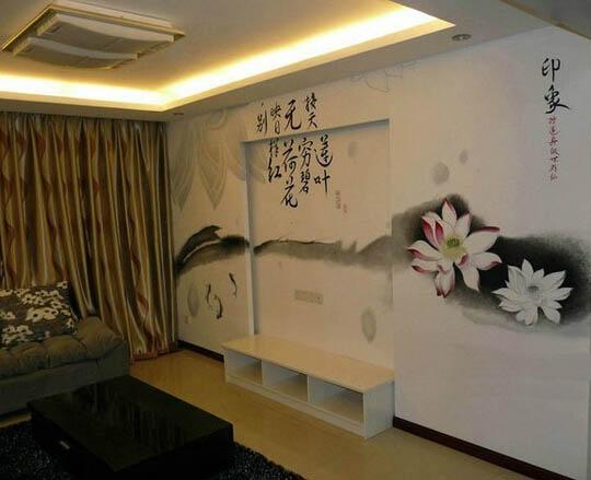 深圳中国风水墨风格墙绘 电视背景手绘墙