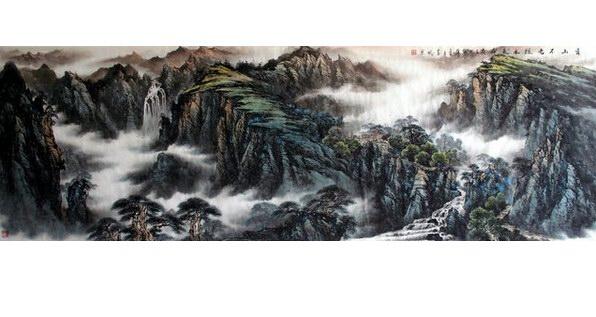 中国水墨山水画题材墙绘 无锡手绘墙