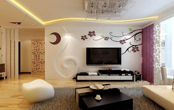 南宁客厅电视背景墙彩绘 电视背景墙墙绘多少钱?
