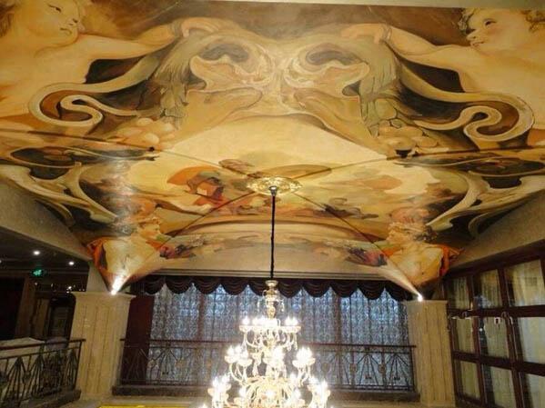 保定大型天花板墙绘 酒店天花吊顶手绘墙画