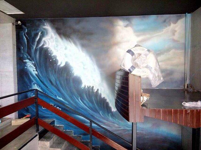 福州楼梯过道墙绘 楼梯墙壁绘画 彩绘