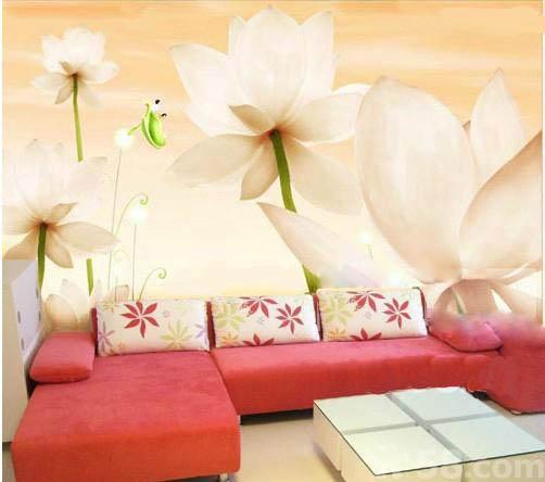 龙岩沙发背景墙彩绘 龙岩大型花卉图案手绘墙