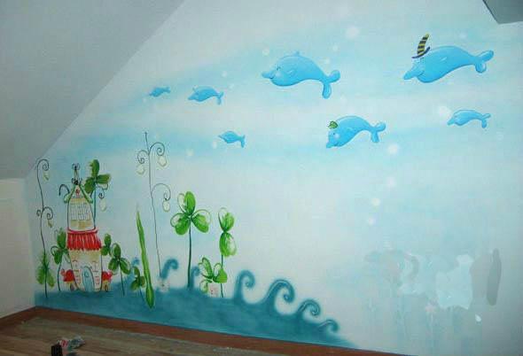 莆田儿童房墙体彩绘 墙上画卡通画