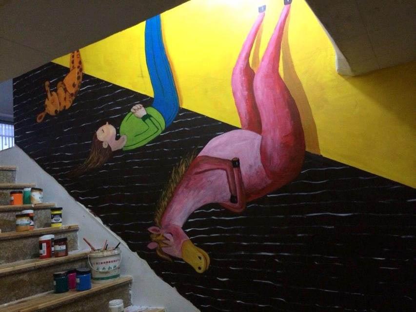 南平楼梯过道墙体彩绘 楼梯卡通墙绘画