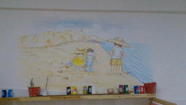 水彩风格墙绘 手绘墙画 南昌现代时尚室内装饰绘画