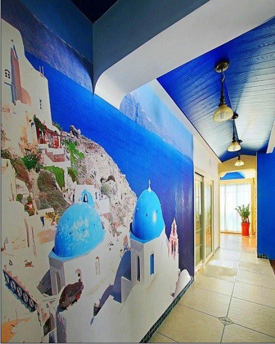 杭州地中海风格墙绘 地中海风景手绘墙