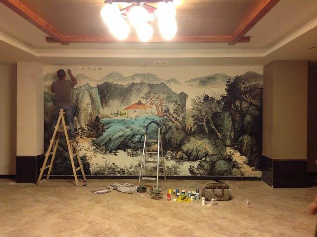 沈阳室内大型中国风墙壁绘画设计制作公司