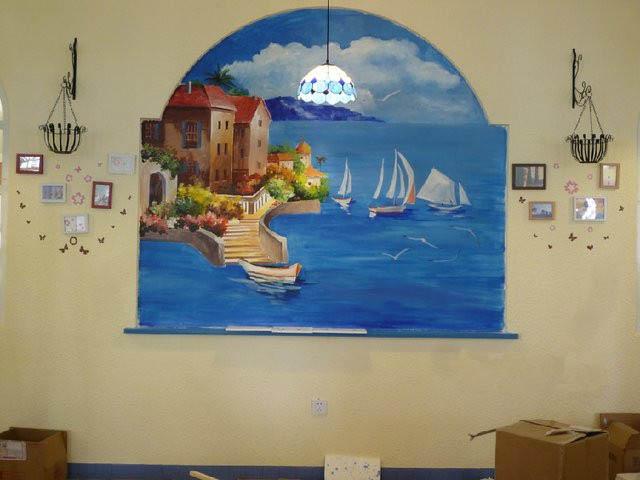 宁波室内欧式风景画墙绘 地中海风景墙体彩绘