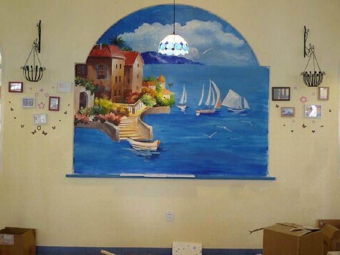 郑州家庭墙体彩绘 地中海风格墙绘