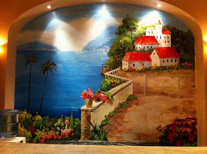 地中海墙绘图片 地中海风景墙绘素材