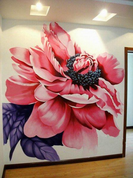 宁德客厅大型花卉墙绘