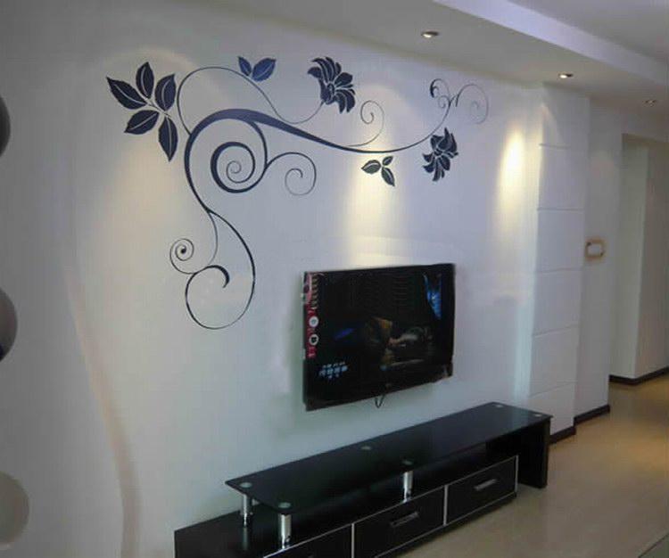 电视背景墙墙绘图片 电视背景墙彩绘素材 - 宁波中天