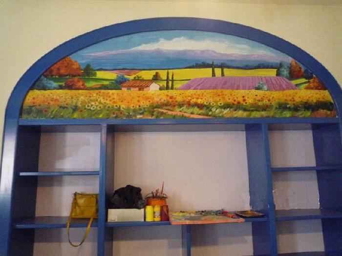 济南室内薰衣草风景墙绘