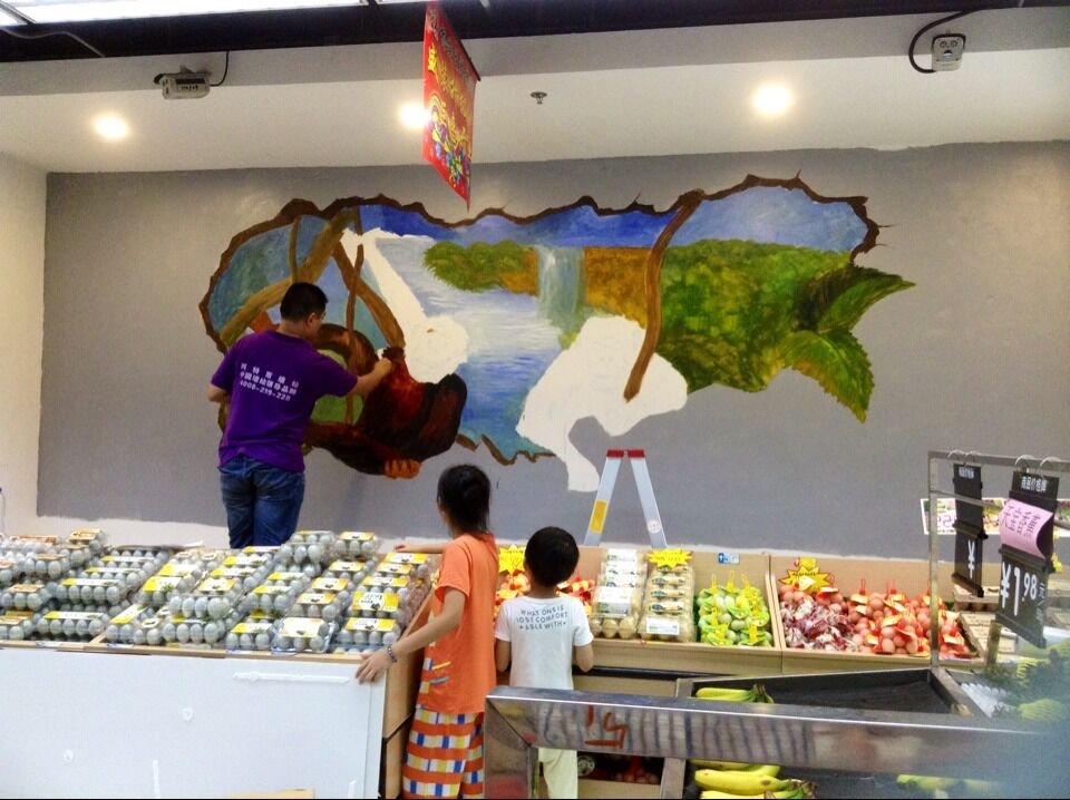 超市3D墙绘4
