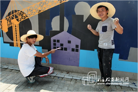 大学生墙绘作品扮靓金山新城