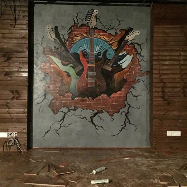 常德久光国际墨莲音乐酒吧墙绘案例